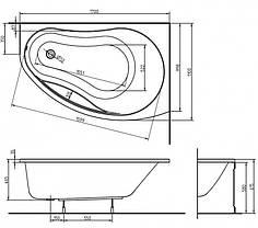 KOLO PROMISE ванна асимметричная 170*110 см, левая/правая, с ножками, фото 3