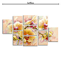 Модульная картина декор с принтом Желтые орхидеи