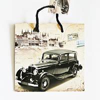 Подарочный пакет ЧАШКА 16х16х7,5 Ретро Машина