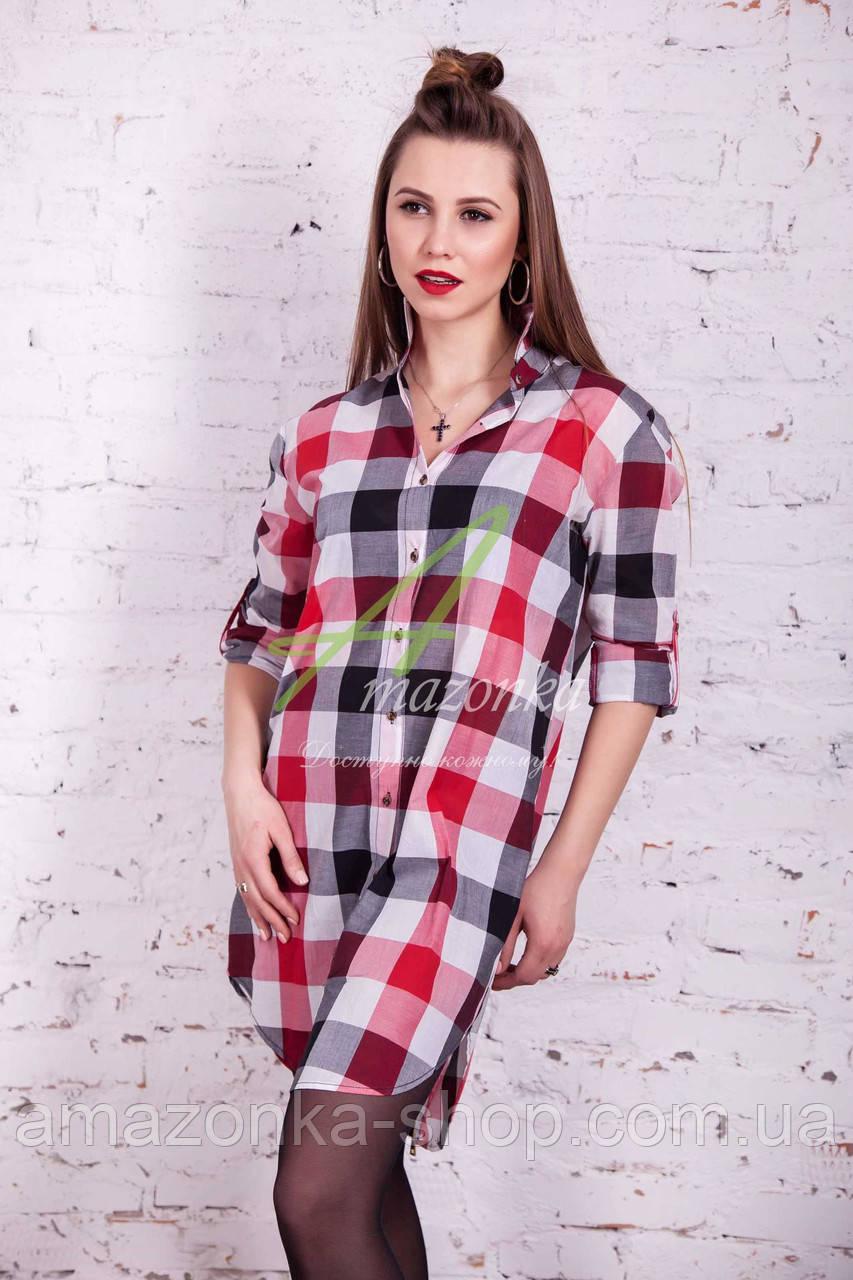 Брендовая женская клеточная рубашка 2017 - (код руб-1)