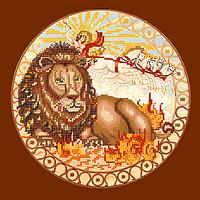 Схема для вышивки бисером Лев, размер 25х25 см