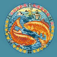 Схема для вышивки бисером Рыбы, размер 25х25 см