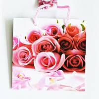 Подарочный пакет ЧАШКА 16х16х7,5 Букет розовых роз