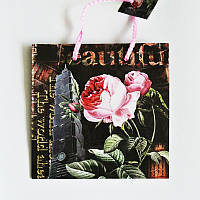 Подарочный пакет ЧАШКА 16х16х7,5 Абстрактная роза
