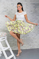 """Летнее коктейльное мини-платье """"Ramina"""" с цветочным принтом и фатиновым подъюбником (2 цвета)"""