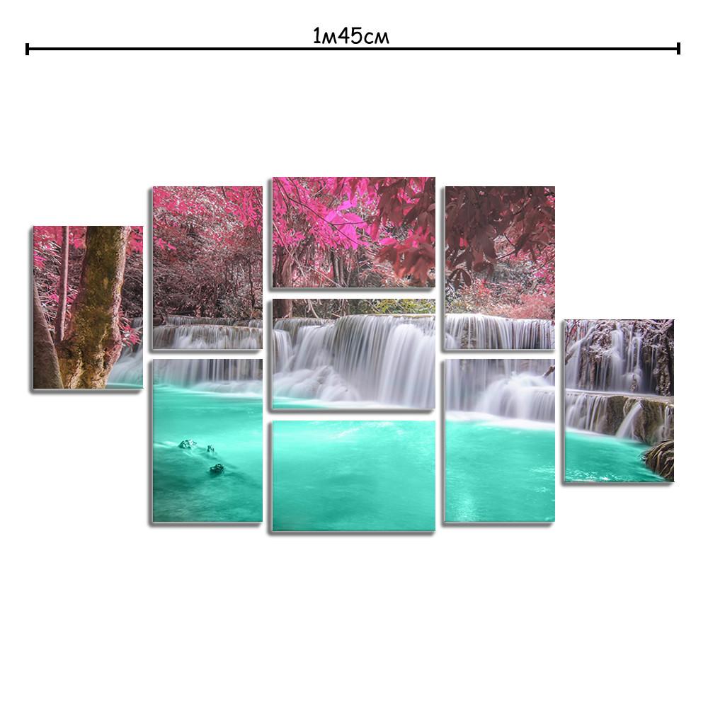 Модульная картина в спальню с принтом Сказочный водопад