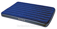 Надувной матрас (кровать) велюр INTEX 68758 синий,(без насоса)в кор. 137*191*22см IKD