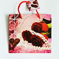 Подарочный пакет ЧАШКА 16х16х7,5 Розы с жемчугом
