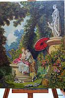 Великолепная Картина Романтизм Поцелуй в саду Любовь Скульптура розы собачка колонны парк веселье воздух свеже
