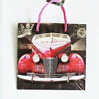 Подарочный пакет ЧАШКА 16х16х7,5 Красная Машина