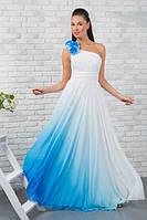 """Длинное вечернее платье на одно плечо """"Anfisa+"""" с цветами (5 цветов)"""