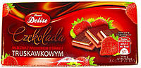 Шоколад молочный Delise Truskawkowym (со вкусом клубники) Польша 100г