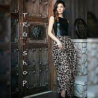 Комбинированное платье  кожа и шифон лео