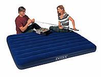 Надувной матрас (кровать) велюр INTEX 68759 синий,(без насоса)в кор. 152х203х22см IKD