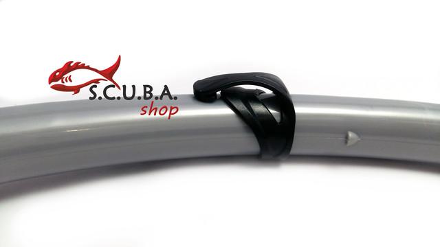 Трубка DOLVOR Travel для плавания с клапаном и фритопом, цвет серый