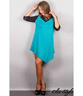 Молодежное бирюзовое   женское платье Эсмина    Olis-Style 44-54 размеры