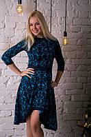 Трикотажное женское платье ассиметрия от 42 до 48