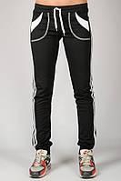Черные спортивные штаны женские брюки с лампасами трикотажные на резинке (манжет) Украина