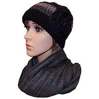 Женская вязаная шапка (утепленный вариант) объемной ручной вязки с цветком, и шарф снуд