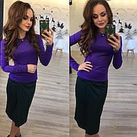 Женский  трикотажный юбочный  костюм ( фиолетовая кофта и  юбка цвета бутылка ). Арт-9772/83