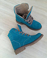 Стильные женские ботинки из натуральной замши  KOMFORT бирюзового цвета.