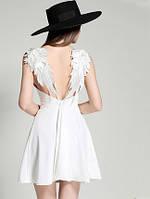 Женское короткое Платье Белое с крыльями для Ангела