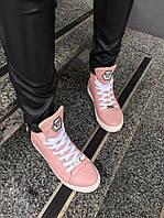 Женские высокие кеды на шнурках из натуральной кожи