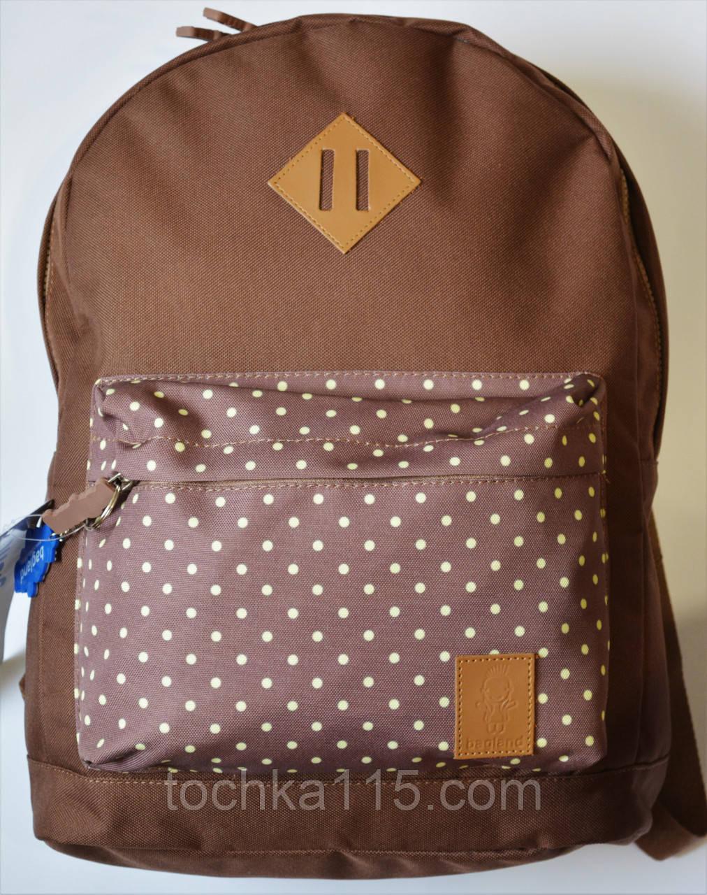 Городской рюкзак Bagland коричневый принт горошек, копия