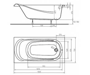 KOLO SAGA ванна прямоугольная 150*75 см с ножками, фото 2