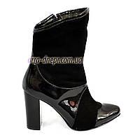 Женские демисезонные ботинки на высоком каблуке, натуральный лак и замша, фото 1