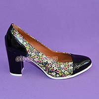 Женские туфли из натуральной лаковой кожи и кожи с цветочным принтом, фото 1