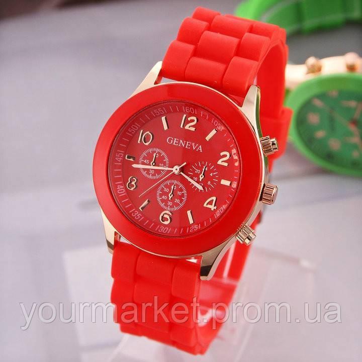 Наручные силиконовые часы Geneva Hot Jelly красные