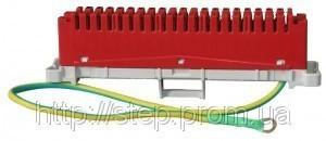 Плинт заземляющий 2/10, L=250 мм, PBT, крепление на хомут-держатель, красный