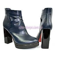 Зимние женские классические ботинки на высоком каблуке, из натуральной кожи синего цвета