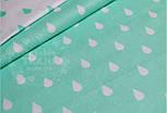 Лоскут ткани №531а ткань бязь с белыми капельками на мятном фоне, фото 2