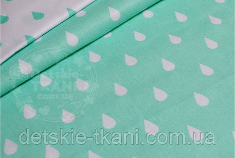 Лоскут ткани №531а ткань бязь с белыми капельками на мятном фоне