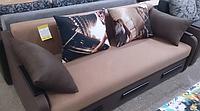 Диван Диджей кофейный с подушками (Корми)