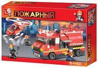 """Конструктор """"SLUBAN"""" """"Пожарные спасатели"""" машина, вертолет, 409 дет., в кор. 36*26*6см (24шт)"""