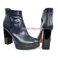 Зимние женские классические ботинки на высоком каблуке, из натуральной синей кожи