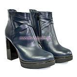 Зимние женские классические ботинки на высоком каблуке, из натуральной синей кожи, фото 2