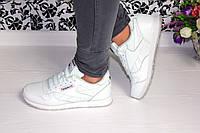 Белые кожанные кроссовки Reebok
