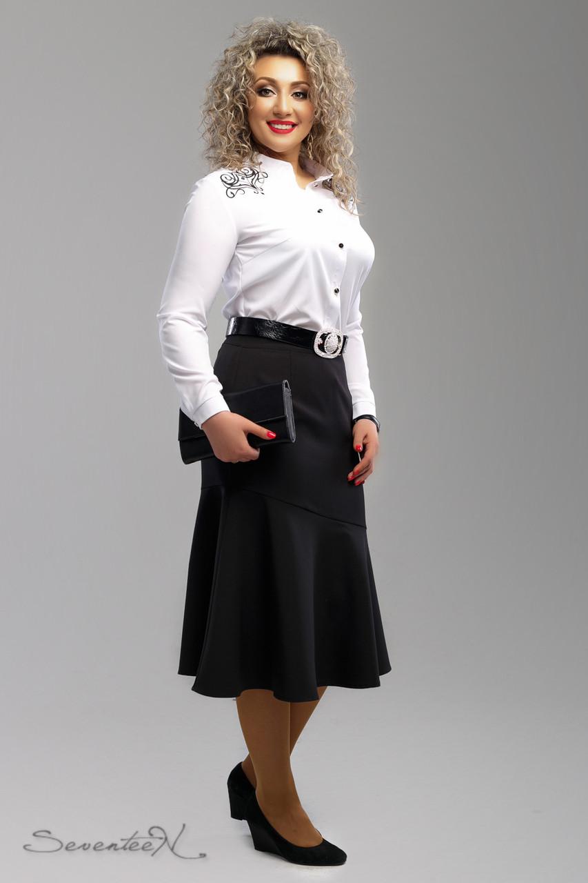 d47a0f3d75b Классическая черная юбка для пышных модниц (французская костюмная ткань