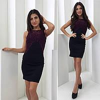 Женское черное мини платье без рукав