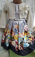 Платье для девочки с цветочным принтом с балеро