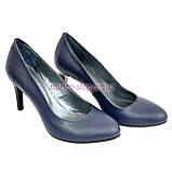 Женские классические кожаные синие туфли на шпильке!, фото 4