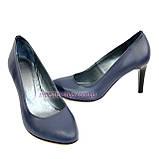 Женские классические кожаные синие туфли на шпильке!, фото 5