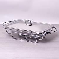 Мармит стеклянный 3л с металлической крышкой и подставкой