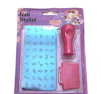Набор для стемпинг Nail stylist  дизайна штамп + скребок +узор большой