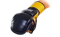 Перчатки рукопашного боя и ММА Matsa (кожа) черно-желтые L