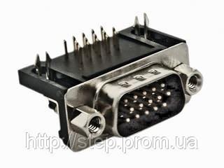 Разъем DHR-15M — 15 контактов, вилка на плату, прямой угол